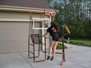 volleyball spike trainer being used at home from The Edge Pro Volleyball Trainer