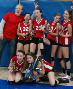 Volleyball team with trophy, from The Edge Spike Trainer